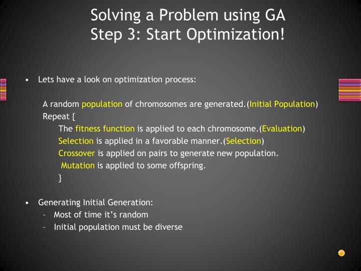 Solving a Problem using GA