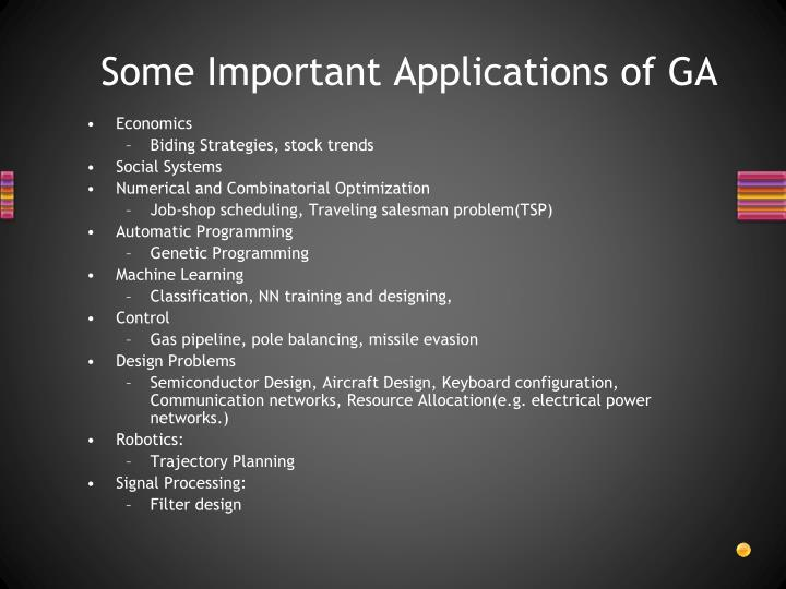 Some Important Applications of GA