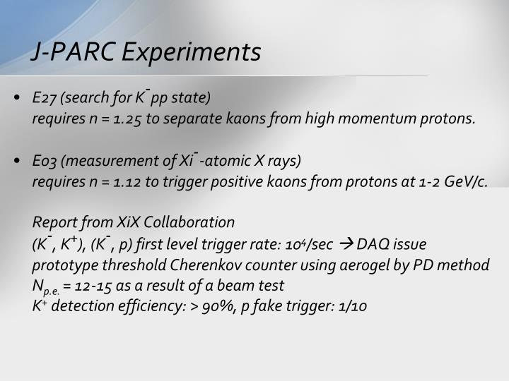 J-PARC Experiments