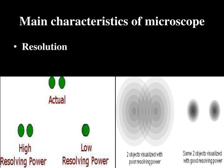 Main characteristics of microscope