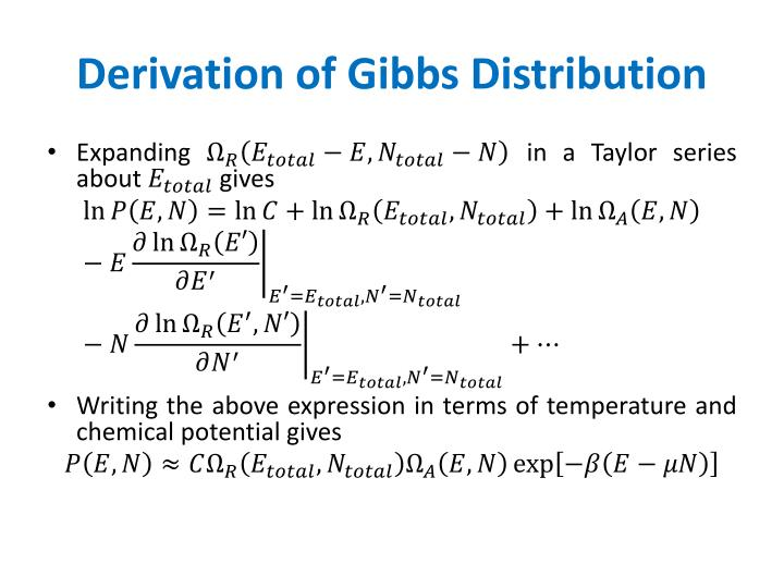 Derivation of Gibbs Distribution
