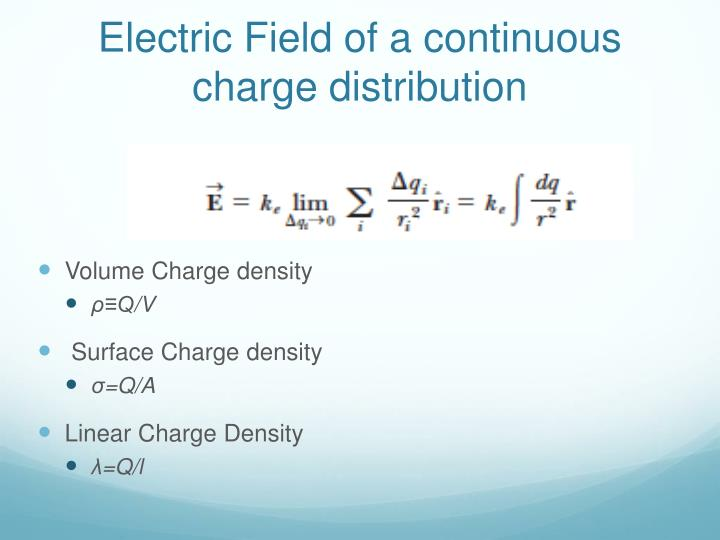 Electric Field of a continuous charge distribution