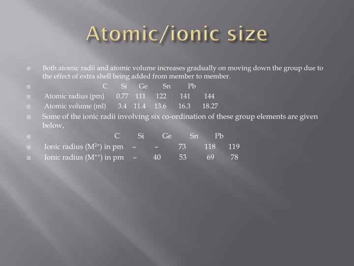 Atomic/ionic size