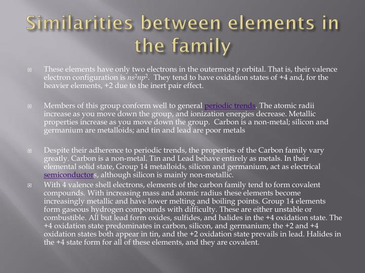 Similarities between elements in the family