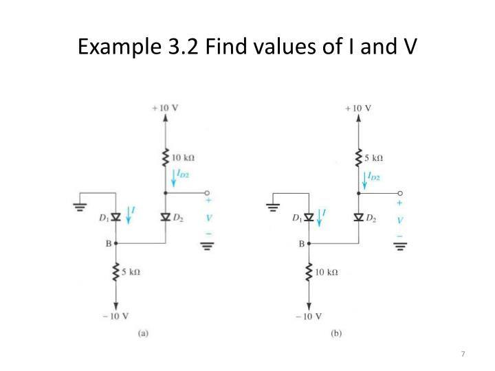 Example 3.2 Find values of I and V
