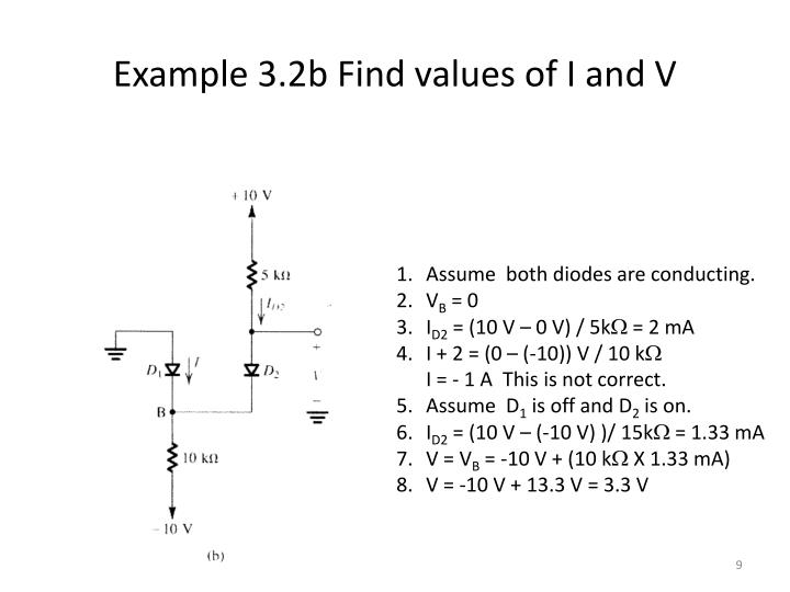 Example 3.2b Find values of I and V