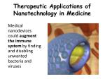 therapeutic applications of nanotechnology in medicine6