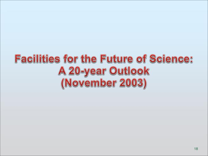 Facilities for the Future of Science:  A 20-year Outlook