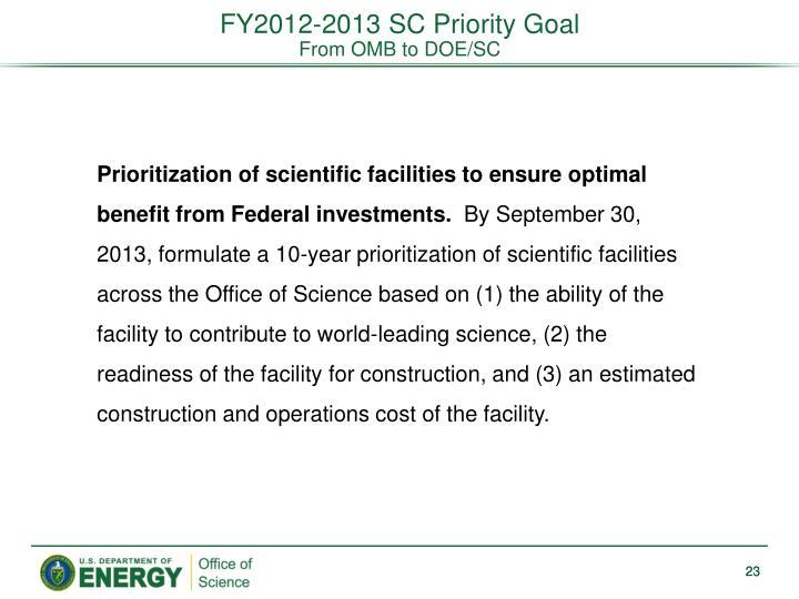 FY2012-2013 SC Priority Goal