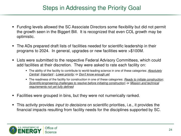 Steps in Addressing the Priority Goal