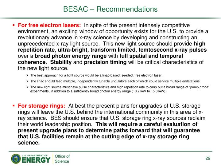 BESAC – Recommendations