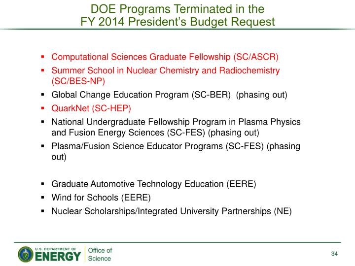 DOE Programs Terminated
