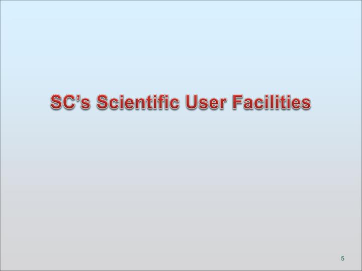 SC's Scientific User Facilities