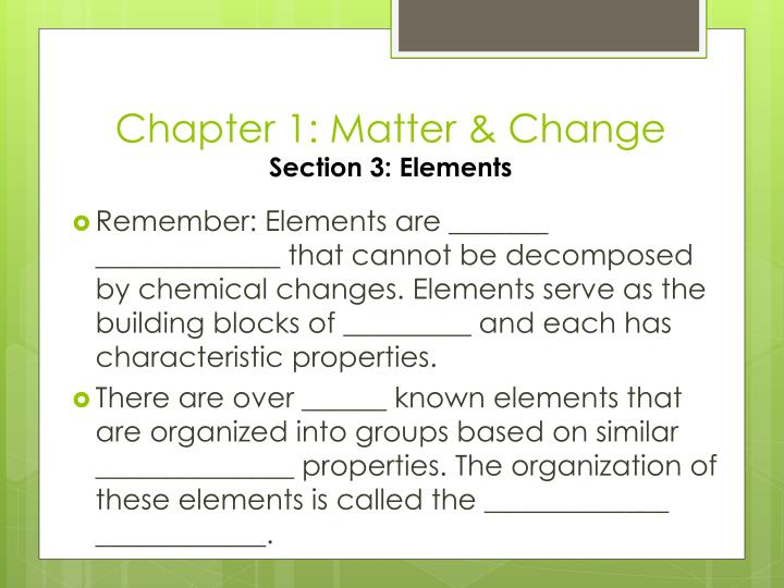 Chapter 1 matter change section 3 elements