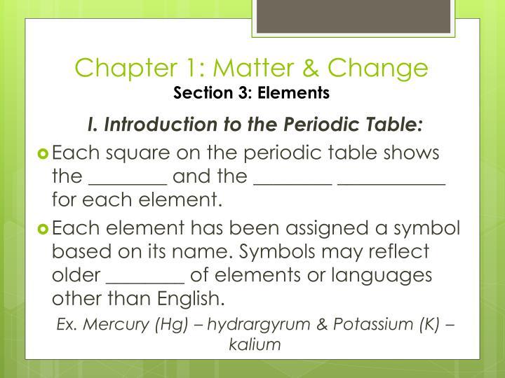 Chapter 1: Matter & Change