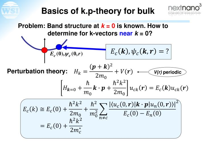Basics of k.p-theory for bulk