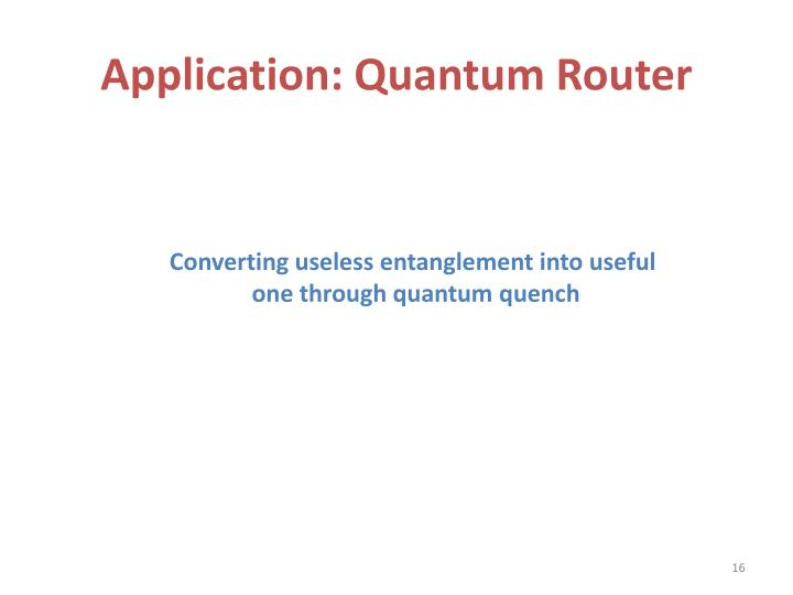 Application: Quantum Router