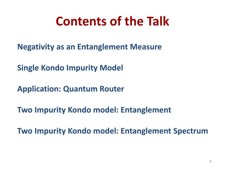 Contents of the Talk