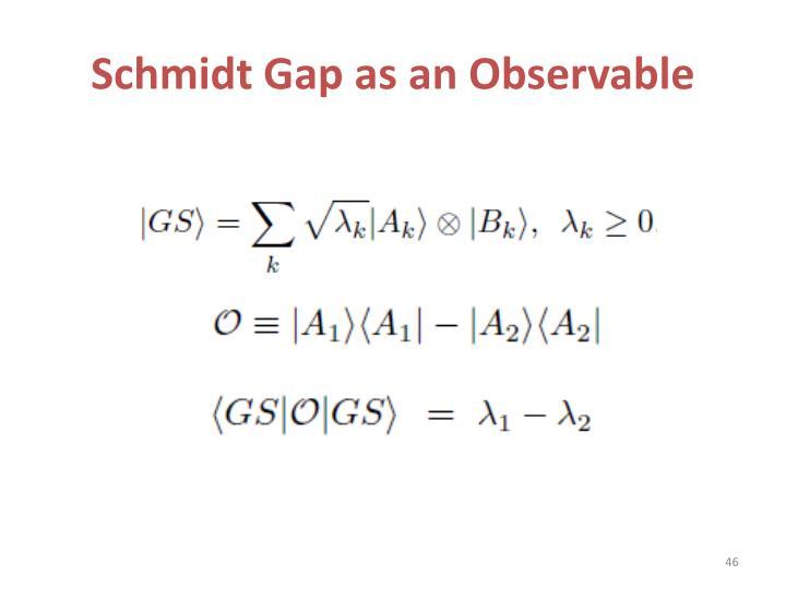 Schmidt Gap as an Observable