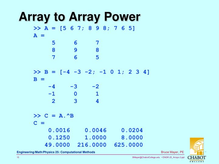 Array to Array Power