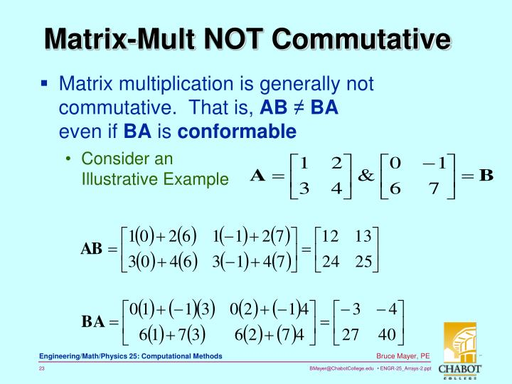 Matrix multiplication is generally not commutative.  That is,