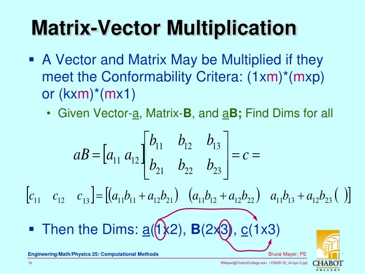 A Vector and Matrix May be Multiplied if they meet the Conformability Critera: (1x