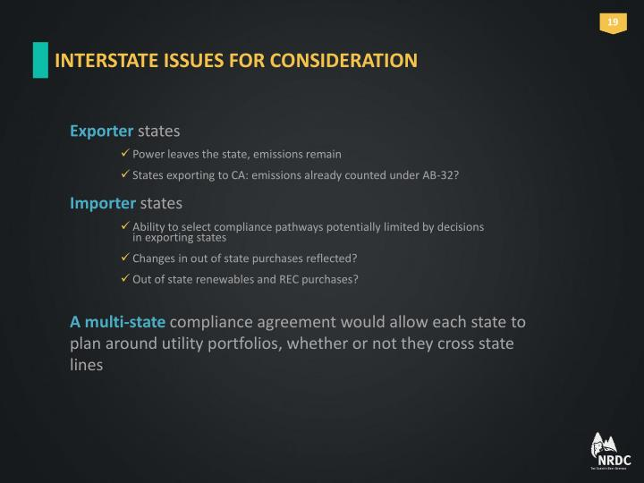 INTERSTATE ISSUES FOR CONSIDERATION
