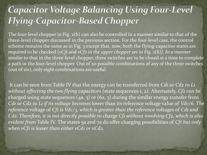 Capacitor Voltage Balancing Using Four-Level