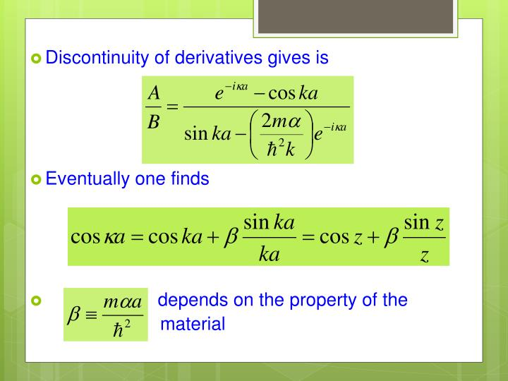 Discontinuity of derivatives gives is