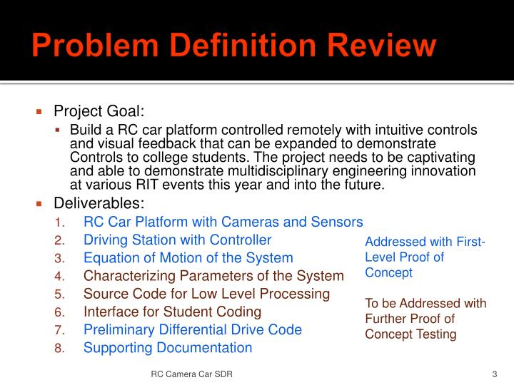 Problem Definition Review