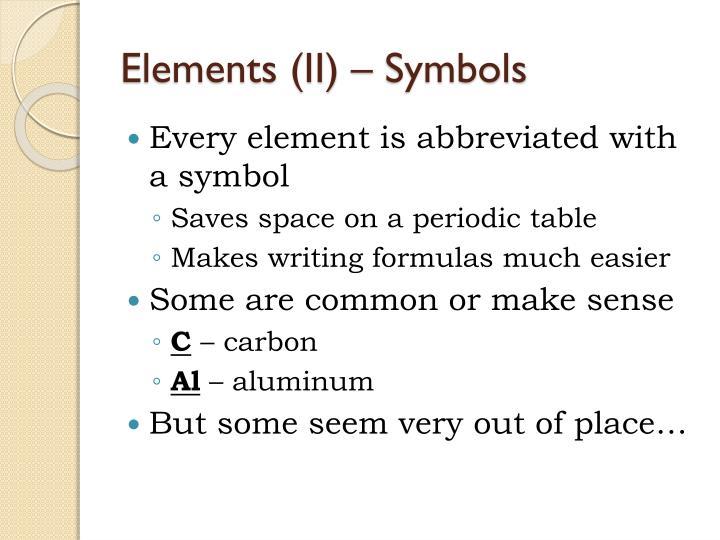 Elements (II) – Symbols