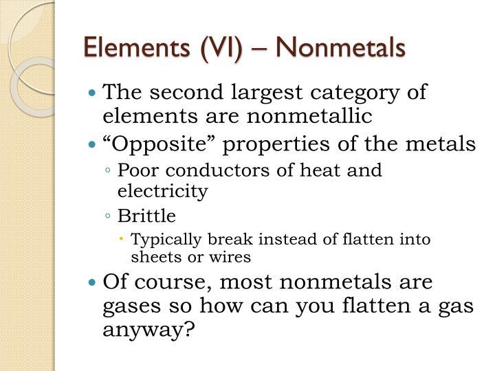 Elements (VI) – Nonmetals