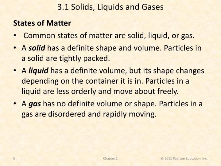 3.1 Solids, Liquids and Gases