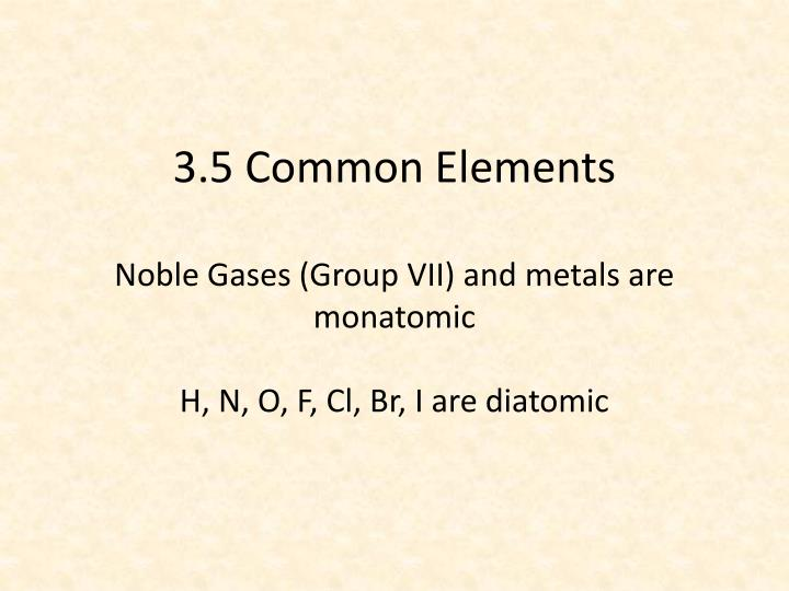 3.5 Common Elements