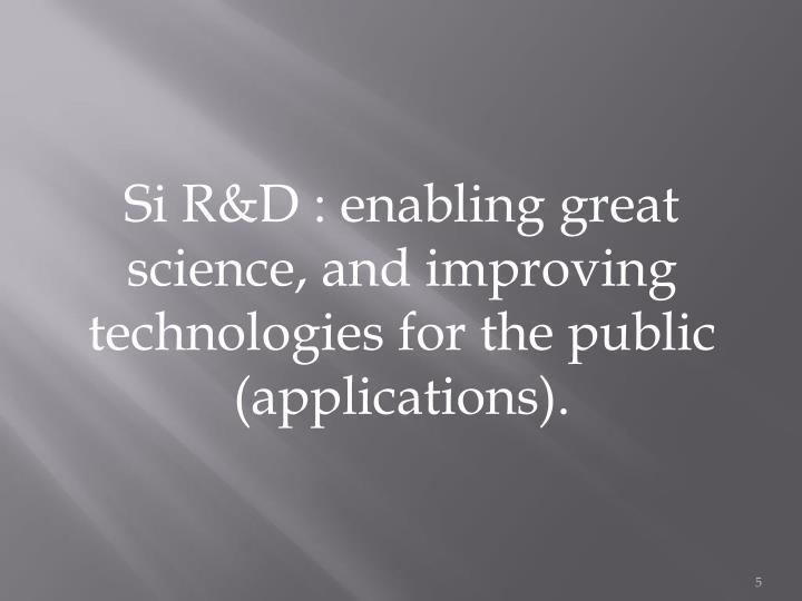 Si R&D : enablin