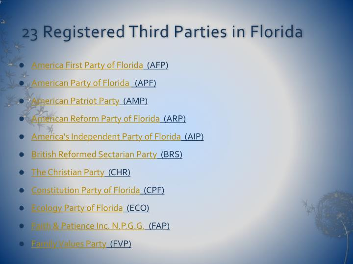 23 Registered Third Parties in Florida