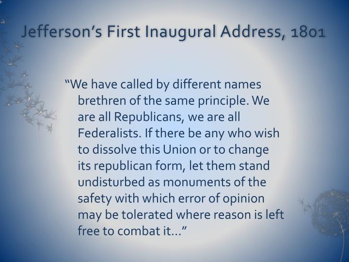 Jefferson's First Inaugural Address, 1801