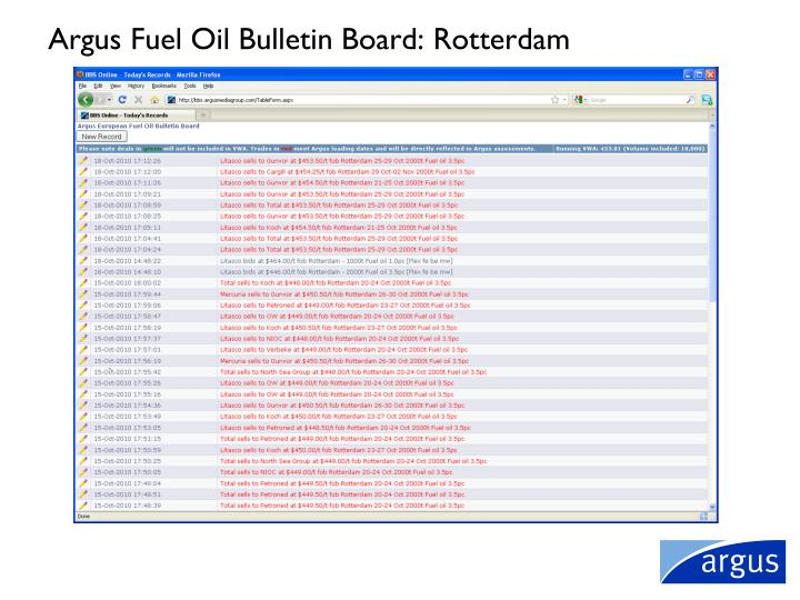Argus Fuel Oil Bulletin Board: Rotterdam