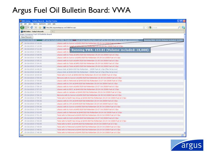 Argus Fuel Oil Bulletin Board: VWA
