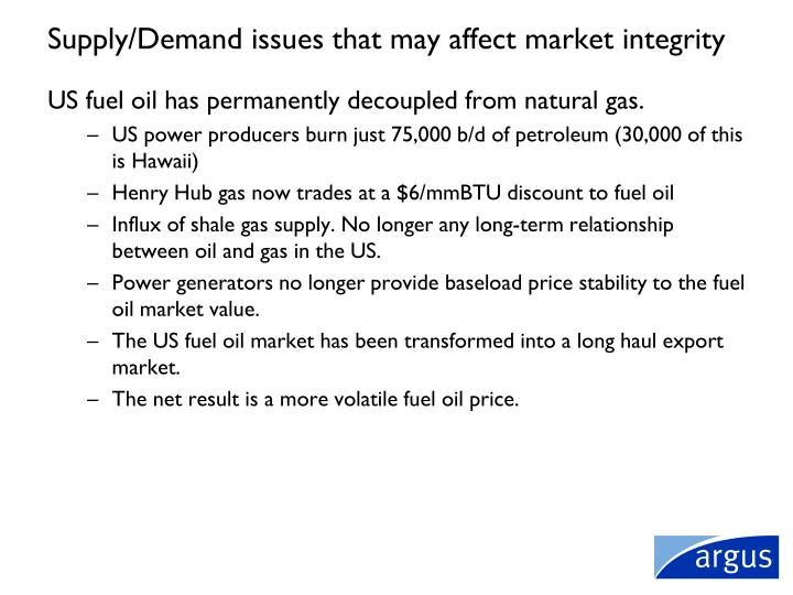 Supply/Demand issues that may affect market integrity