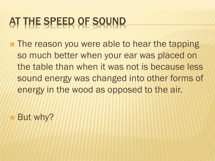 At the speed of sound1