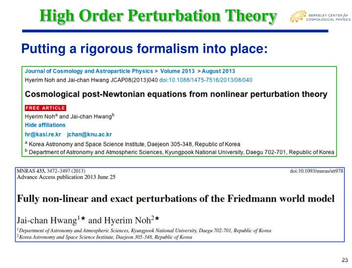 High Order Perturbation Theory