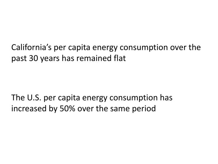 California's per capita energy consumption over the past 30 years has remained flat