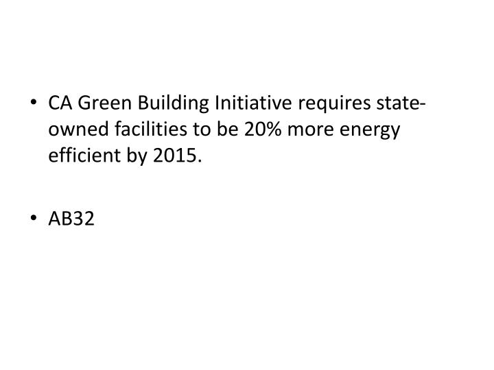 CA Green Building Initiative requires state-owned facilities to be 20% more energy efficient by 2015.