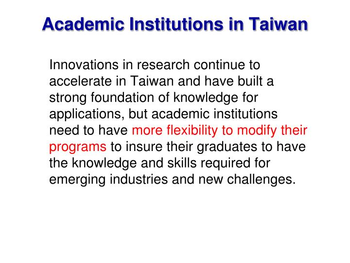 Academic Institutions in Taiwan