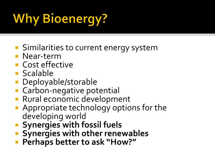 Why Bioenergy?