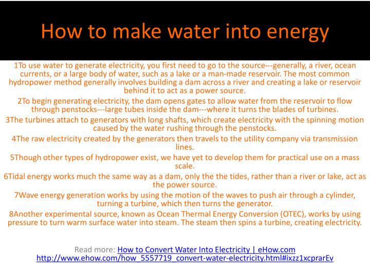 How to make water into energy