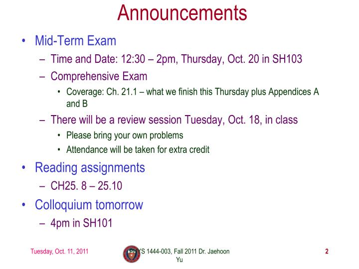 Announcements