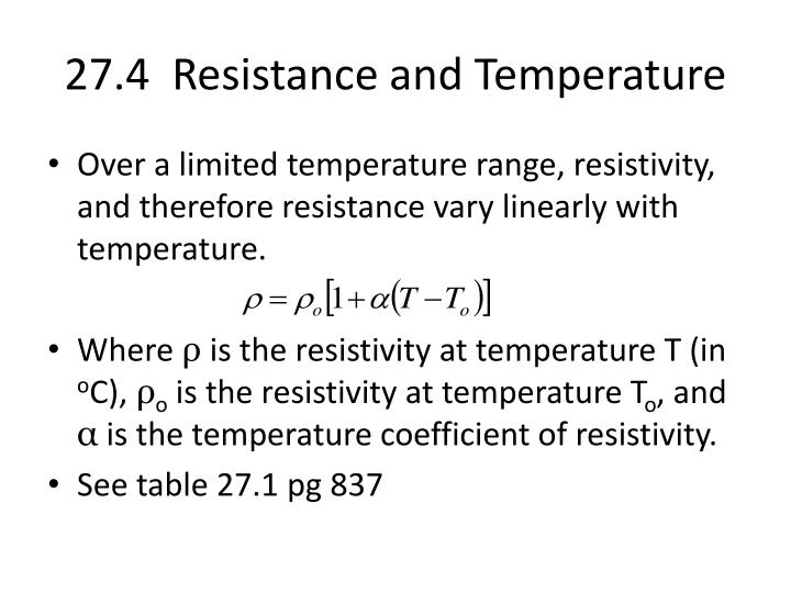 27.4  Resistance and Temperature