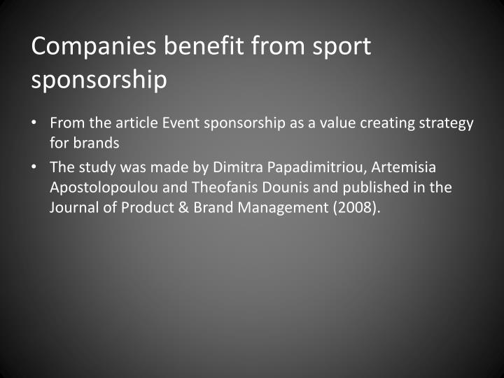 Companies benefit from sport sponsorship